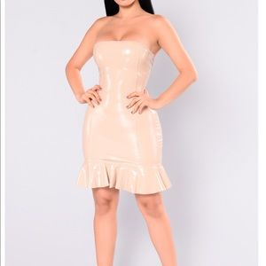 Nude latex mini dress